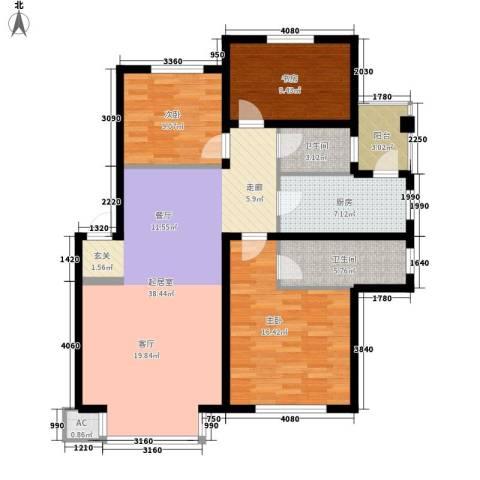 在水一方3室0厅2卫1厨116.00㎡户型图