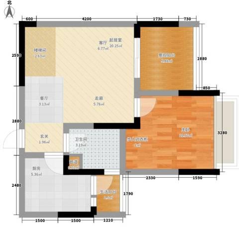 东海滨江城1室0厅1卫1厨69.00㎡户型图