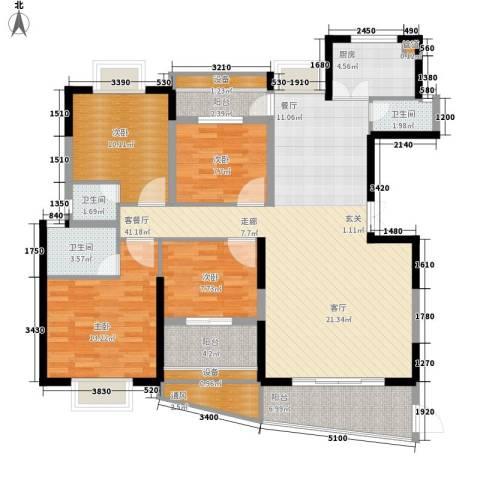 联泰香域中央4室1厅3卫1厨162.00㎡户型图