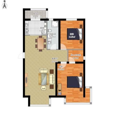 翰逸华园二期2室1厅1卫1厨117.00㎡户型图