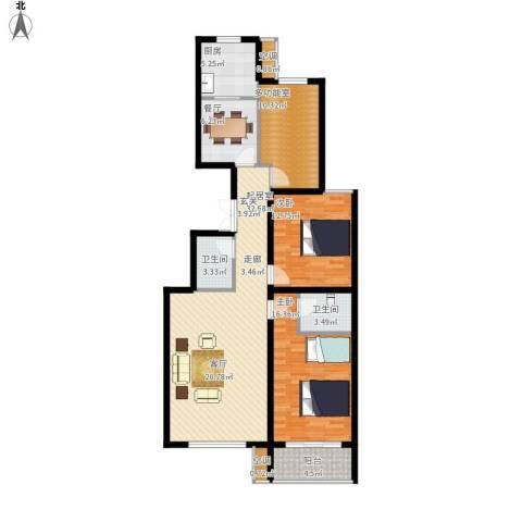 馨园丽景2室1厅2卫1厨138.00㎡户型图