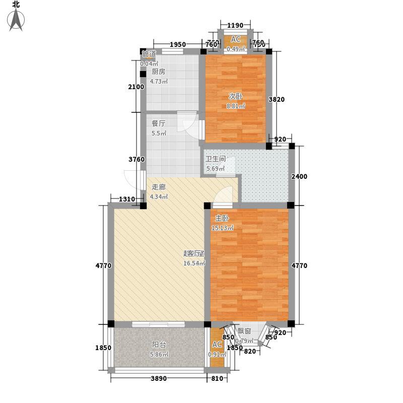 兰亭雅苑82.79㎡户型2室2厅1卫1厨