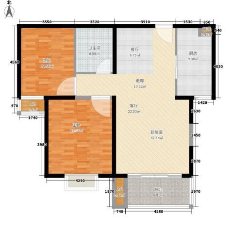 银河科技公寓2室0厅1卫1厨110.00㎡户型图