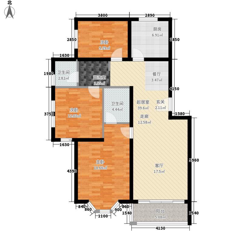 大自然新城111.72㎡A户型3室2厅2卫1厨