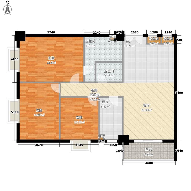 山水名庭134.16㎡山座B户型134.16㎡户型3室2厅2卫1厨