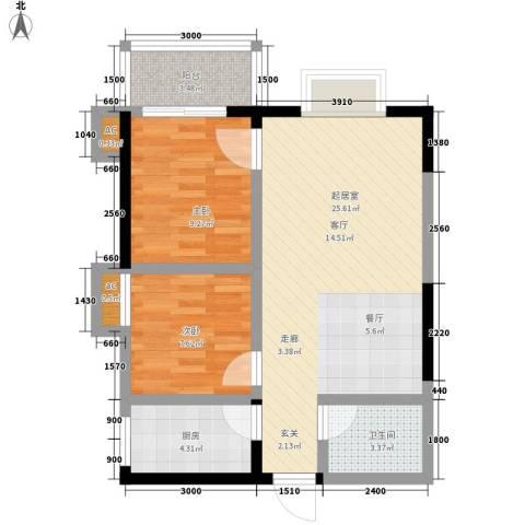 西瑞北国之春2室0厅1卫1厨75.00㎡户型图