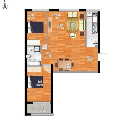 东城景苑2室1厅1卫1厨89.00㎡户型图