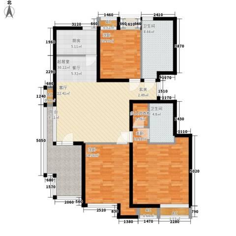 美达浅草明苑3室0厅2卫1厨122.00㎡户型图