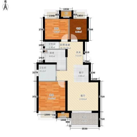 新城尚东区3室0厅2卫1厨98.00㎡户型图