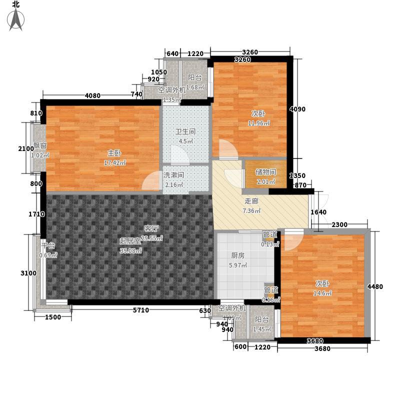 米罗公元110.30㎡3号楼F型户型3室1厅1卫1厨