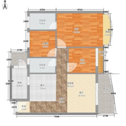 东田丽园五期3室0厅2卫1厨100.00㎡户型图