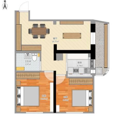 广安门外大街2室1厅1卫1厨72.00㎡户型图