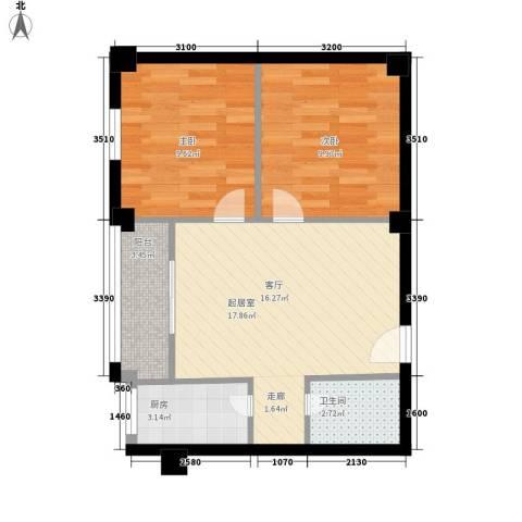 双子星国际广场2室0厅1卫1厨66.00㎡户型图