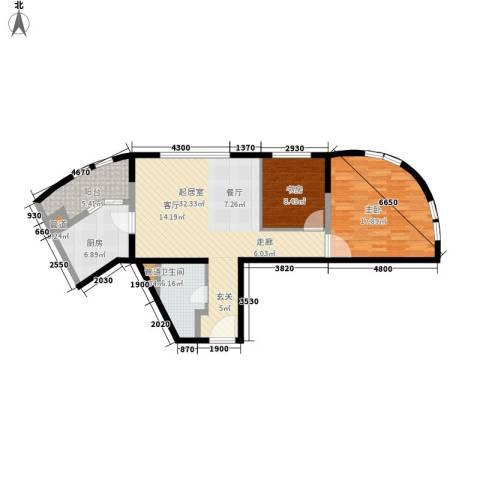 万科双子座2室0厅1卫1厨86.00㎡户型图
