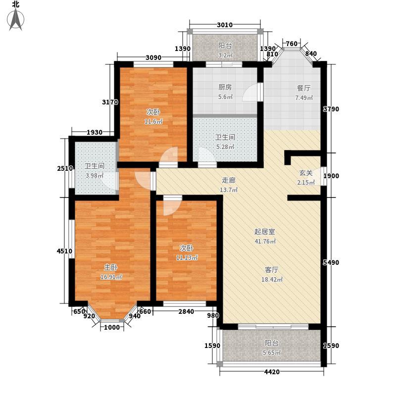 大自然新城120.87㎡户型3室2厅2卫1厨