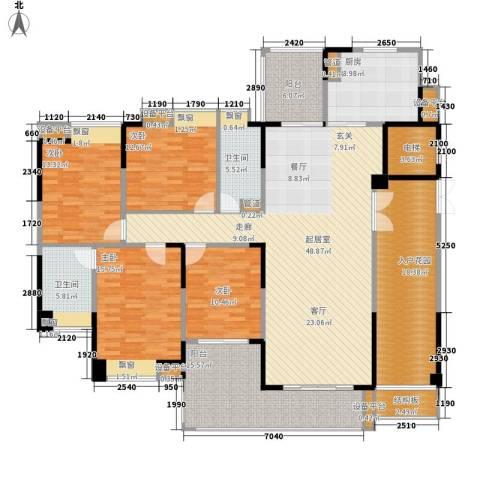 归心花园4室0厅2卫1厨190.00㎡户型图