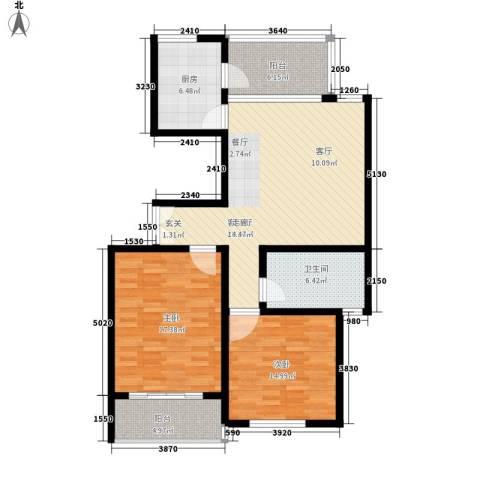 江阴外滩名门2室1厅1卫1厨95.00㎡户型图