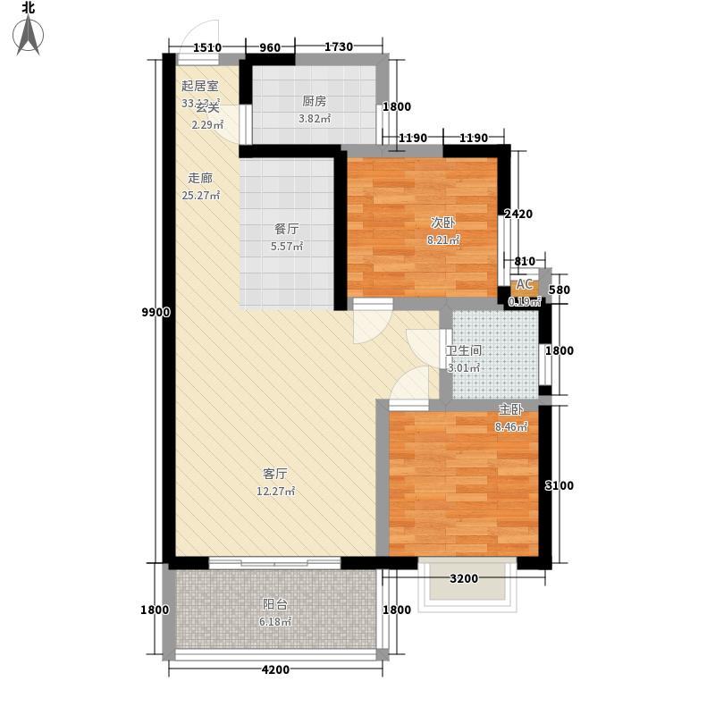 西郡兰庭83.60㎡J1户型2室2厅1卫1厨