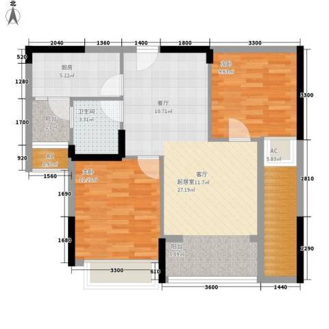 泽胜依山郦景2室0厅1卫1厨77.00㎡户型图