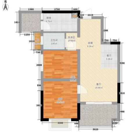 华银天际二期2室0厅1卫1厨74.00㎡户型图