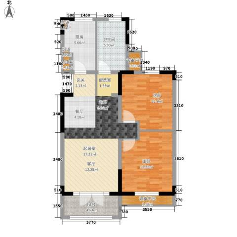 团泊湖光耀城2室0厅1卫1厨97.00㎡户型图