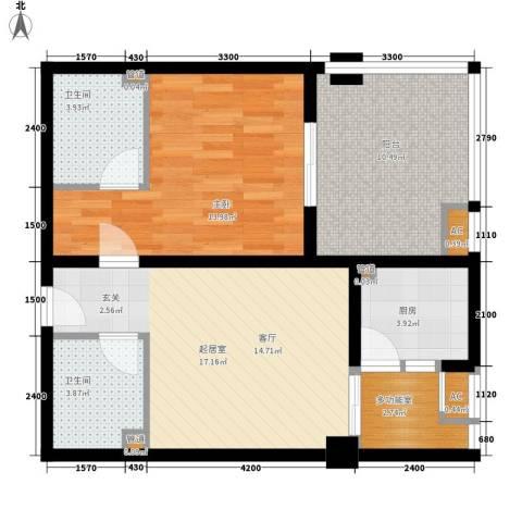 双子星国际广场1室0厅2卫1厨80.00㎡户型图