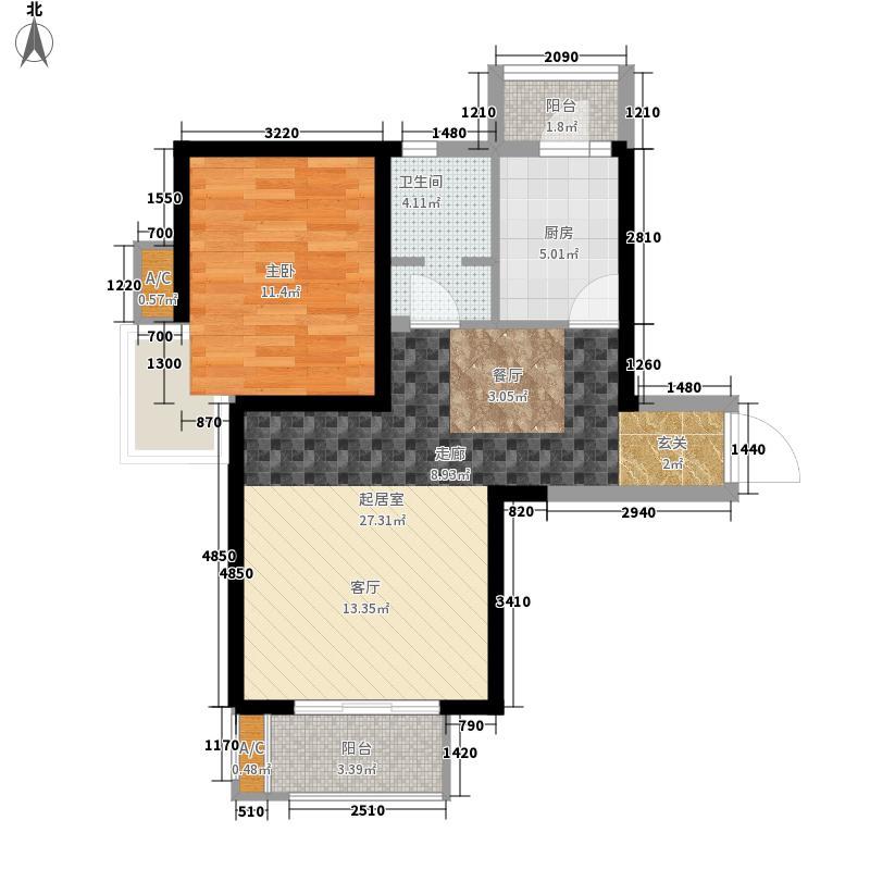 贻成豪庭80.00㎡高层标准层D1-201户型