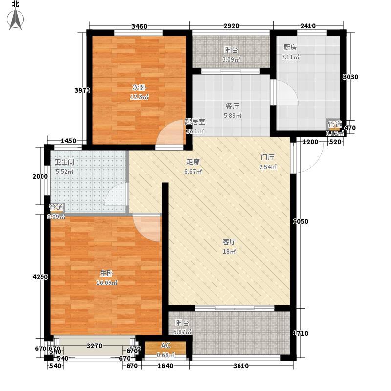 农房索河湾94.00㎡B1高层户型2室2厅
