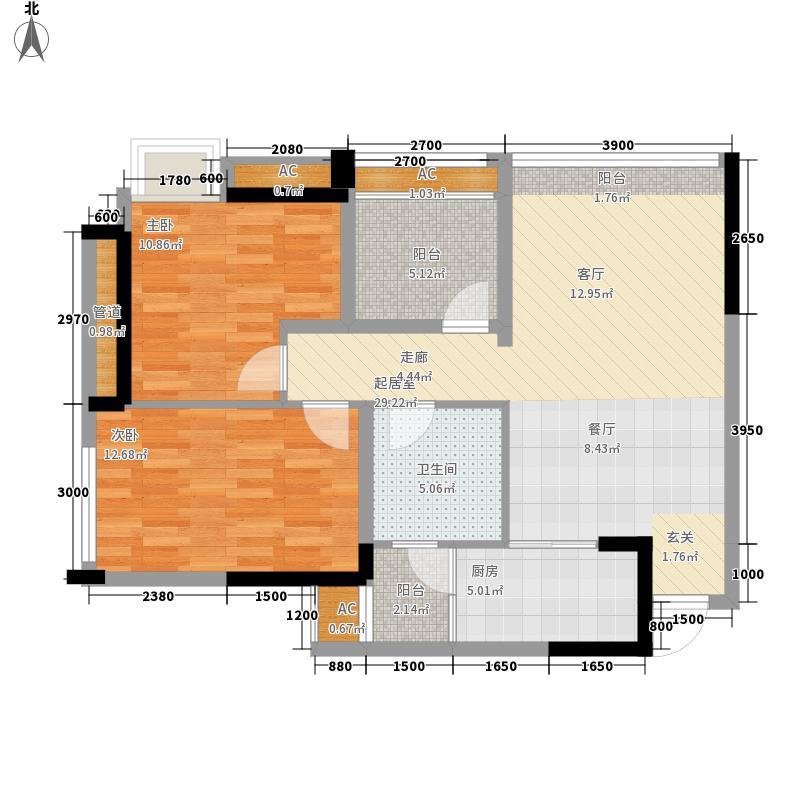 泽胜依山郦景86.77㎡一期1号楼标准层1号房户型