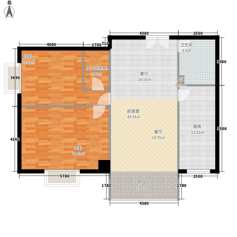 山水名庭112.74㎡水座G户型112.74㎡户型2室2厅1卫1厨