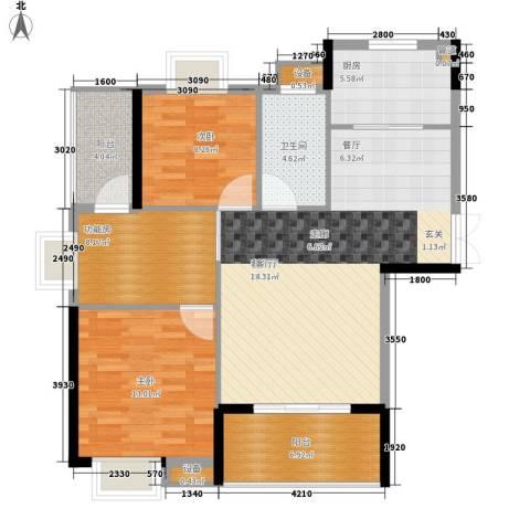 联泰香域中央2室1厅1卫1厨102.00㎡户型图