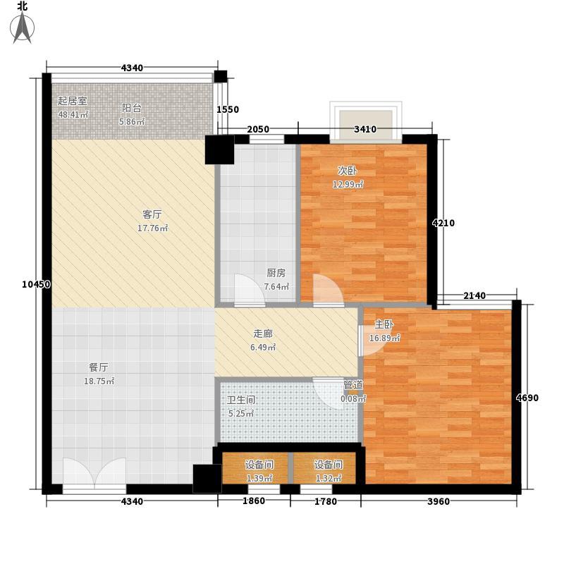 山水名庭104.14㎡水座E户型104.14㎡户型2室2厅1卫1厨