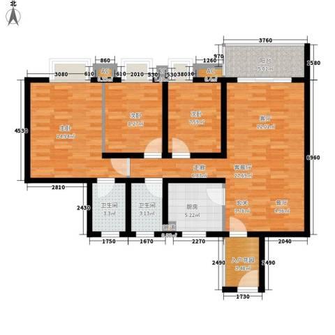 德盈华庭3室1厅2卫1厨116.00㎡户型图
