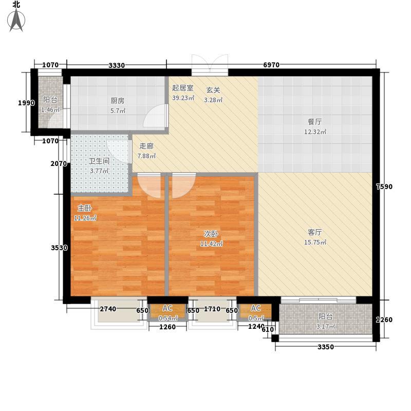 北湖盛景两室两厅单卫户型