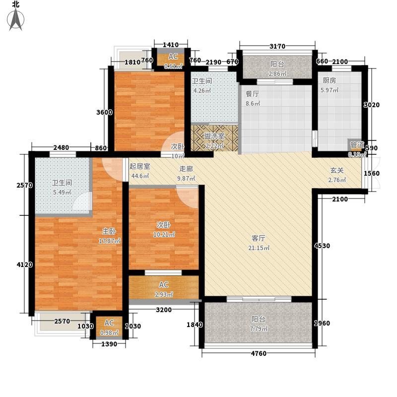 CBD楚世家130.72㎡E户型3室2厅