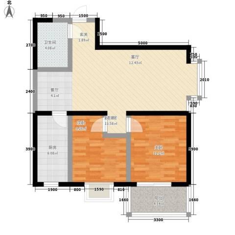 龙祥御湖2室0厅1卫1厨89.00㎡户型图