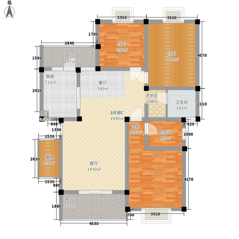 春江青龙湾123.23㎡E型(售罄)户型3室2厅2卫1厨