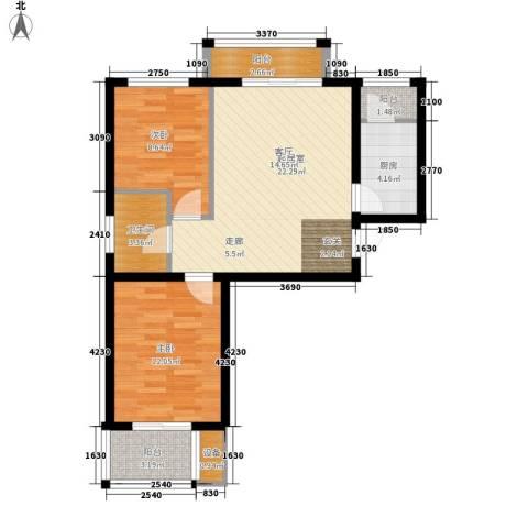 湖岸新城2室0厅1卫1厨67.00㎡户型图