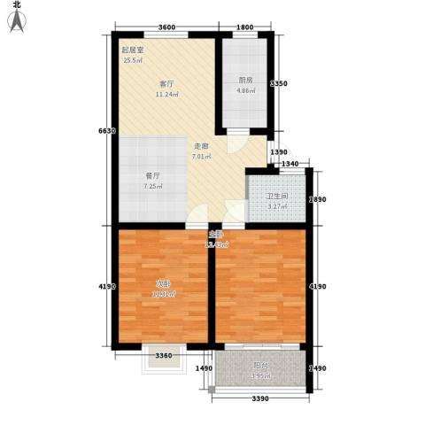兰荷苑星河湾2室0厅1卫1厨90.00㎡户型图