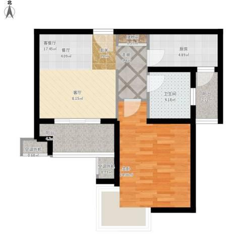 东方听潮豪园1室1厅1卫1厨73.00㎡户型图