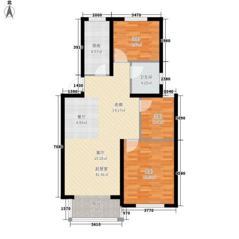 翡翠城花园小区3室0厅1卫1厨116.00㎡户型图