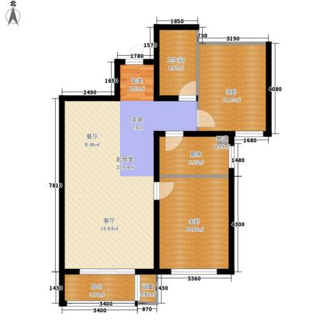 湖岸新城2室0厅1卫1厨84.00㎡户型图