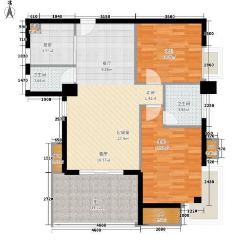 城市学院宿舍2室0厅2卫1厨86.40㎡户型图