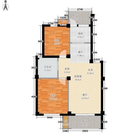临山花园2室0厅1卫1厨85.00㎡户型图