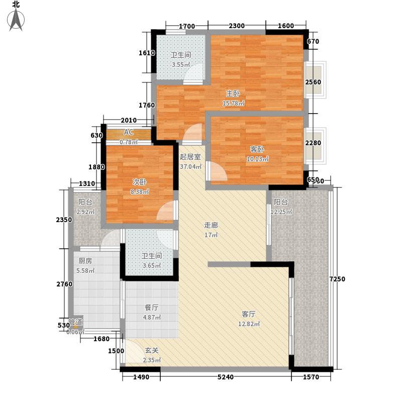 锦天星都103.76㎡一期2号楼标准层面积10376m户型