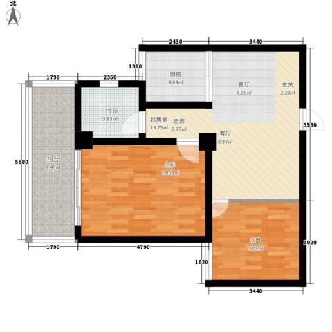 新苑逸城2室0厅1卫1厨88.00㎡户型图