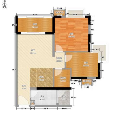 风和日丽2室1厅1卫1厨75.00㎡户型图