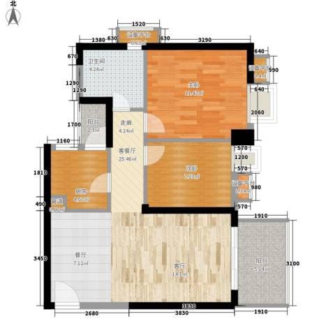 半岛城邦二期2室1厅1卫1厨89.00㎡户型图