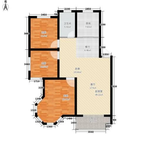 翡翠城花园小区3室0厅1卫1厨143.00㎡户型图