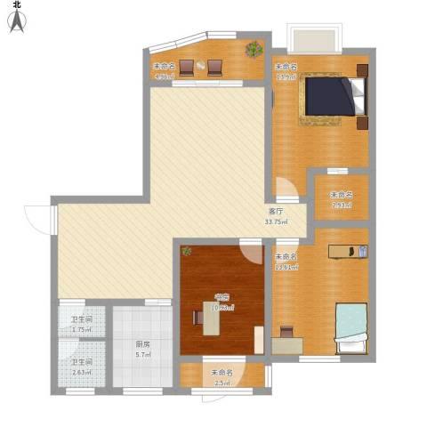 白云公馆1室1厅2卫1厨135.00㎡户型图